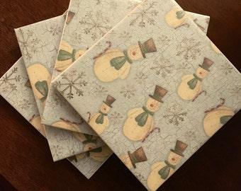 Ceramic Snowman Coasters