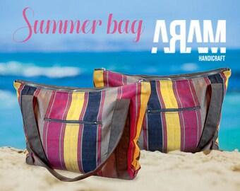 Beach Bag Tote canvas zipper