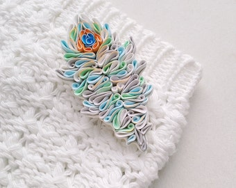Feather brooch, polymer clay Feather, Feather jewelry, Feather accessories, quilled Feather, Feather pin