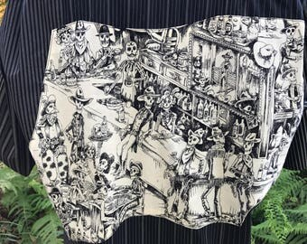 Rockabilly Day of the Dead Shirt Dia De Los Muertos Skulls Skeletons Saloon Upcycled Rare Fabric Size XL