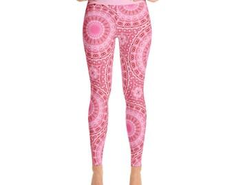 High Waist Leggings for Women - Pink and Red Yoga Leggings, Cute Leggings, Printed Tights, Mandala Designed Stretchy Yoga Pants