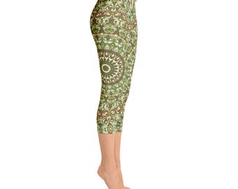 Festival Leggings - Camo Leggings, Camouflage Green and Brown Printed Leggings, Yoga Pants Womens Stretch Pants, Yoga Tights