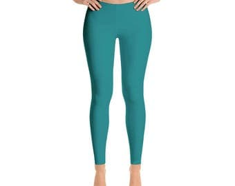 Teal Leggings - Stretchy Yoga Pants, Mid Rise Waist Workout Pants for Women