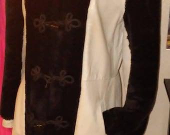 Mod 70's Leather & Faux Fur Coat