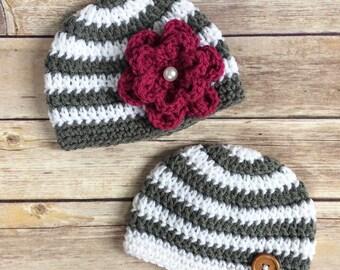 Newborn Boy and Girl Crochet Hats - Twin hats - Twin beanies - 0 to 3 months - Striped beanie - Crochet Flower - White Pearl Button