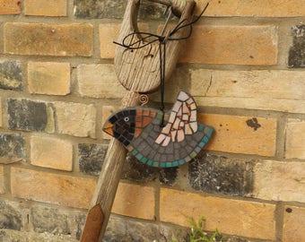 Black Bird, Moisaic Garden Ornament, Quirky Garden Ornament, Mosaic Bird, Grey Bird, Flying Bird, Fun Gift, Outdoor Bird, Small Bird, gift