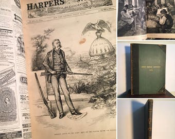 1882 Harper's Weekly Bound 6-Month Volume, Rare Folio Leatherbound Volume of Harper's Illustrated Newspaper, Nash Cartoons