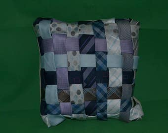 Woven Up-cycled Tie Cushion