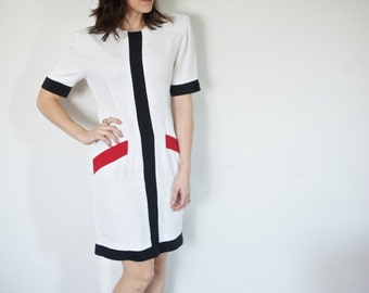 1980s Bosslady Dress | Color Block 80s ILGWU Dress