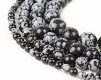 """Snowflake Obsidian Beads 4mm 6mm 8mm 10mm Loose Gemstone Round 15.5"""" Full Strand Wholesale"""