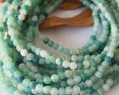 Strand Gemstone Agate Frosted Beads Light Sea Green Size 6mm Quantity 64 Beads