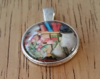 1 - Silver - Glass Cabochon - Pendant - Necklace - Siamese Cat - The Size is 36mm x 28mm