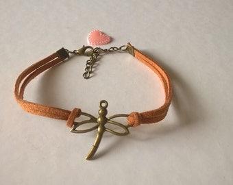 Bronze Dragonfly bracelet, leather Suede, aromatherapy jewelry, minimalist, zen, Reiki, Boho, men, women Bracelet