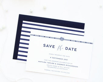 Nautical Theme Save the Date Cards, Printable File or Printed Cards, Custom Colors and Sizes, Navy Wedding Invitations