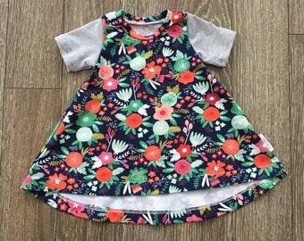 Orange, Navy flowers and Mint dress