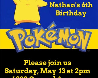 Set of Pikachu Invitations, Thank You Cards & Goody Bag Tags (Sets of 60,90 and 120)
