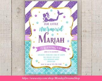 Printable Mermaid Party Invitation, Gold, Purple and Aqua Baby Shower, Birthday, Under the Sea Party Invitation, First Birthday Invite