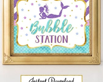 Printable Mermaid Party Sign, Bubble Station, Party Decoration, Baby Shower, Birthday, Under the Sea Party A-082