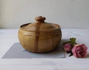 Ceramic Casserole, Pottery Casserole, Ceramic Serving Dish, Beige Casserole Dish, Casserole With Lid, Lidded Casserole, Brown Casserole