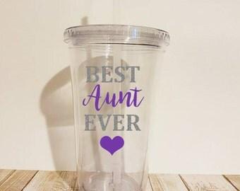 Best Aunt Ever Tumbler, Aunt Tumbler, Gift for Aunt, Aunt Gift, Christmas Gift for Aunt, Gift from Niece, Gift from Nephew, Aunt Christmas