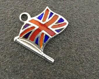 Enamel Silver Charm Union Jack Flag Vintage Bracelet Charm Necklace Pendant Fob