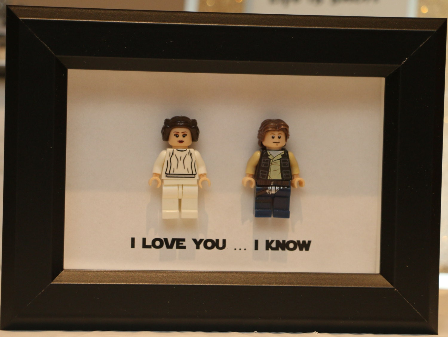 lego i love you i know framed han leia star wars mini figures millenium falcon minifigures wedding anniversary personalized uk usa canada