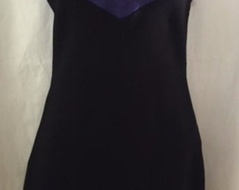 1990s Purple & Black Dress by ABS in Size Small with Straps
