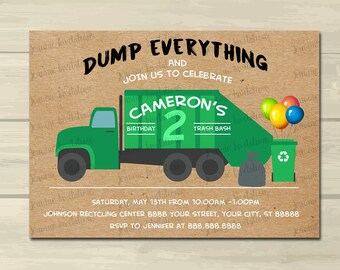 Garbage Truck Birthday Invitation,Trash Truck Birthday Invitation ,5x7, Printed or Digital File