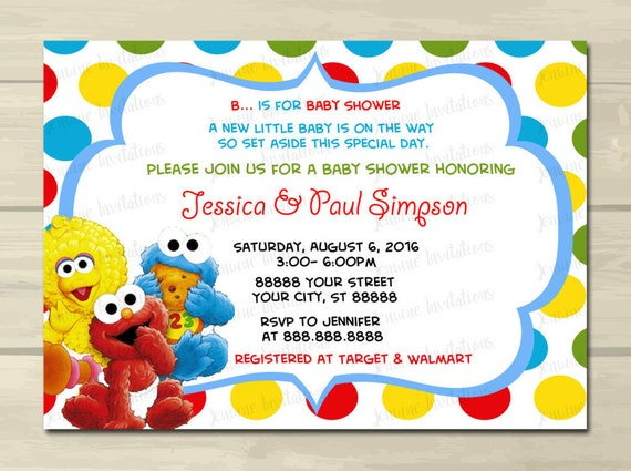 Sesame street baby shower invitations elmo baby shower - Sesame street baby shower ...