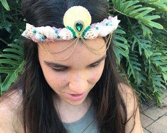 Emeralds in Soft Pink Mermaid Crown