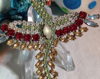 Vintage Figural Rhinestone Bird Pin, Czech Crystal Bird Brooch, Green and Red Rhinestone figural Bird Pin, Estate Jewelry