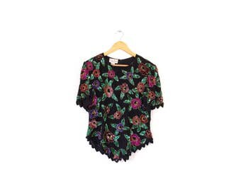 Vintage beaded silk blouse / 60s floral sequin top / Peony embroidered blouse / Black and floral short sleeve silk top / Beaded silk shirt