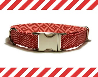 Dog collar Red Squares
