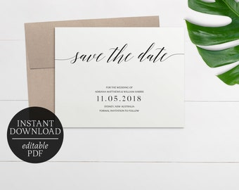 Printable Save The Date Calligraphy Invitation | Editable Template | Black and White | Wedding Suite | Download | Save the Date | Adriana
