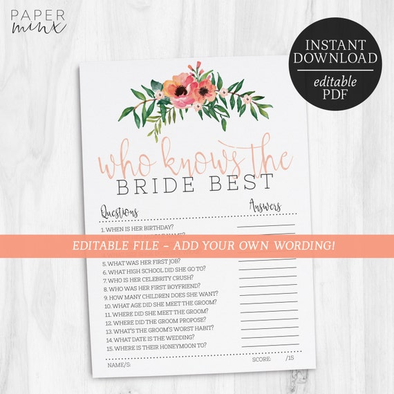 Who Knows The Bride Best Editable Game How Well Do You Know