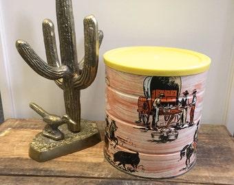 SALE! Hills Bros. or MJB Western Themed Coffee Can 3lb Vintage Coffee Tin