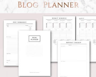 Printable Blog Planner Set | A4 & US Letter | Post Worksheets, Monthly, Weekly and Daily Schedule, Yearly Stats, Editorial Calendar, etc