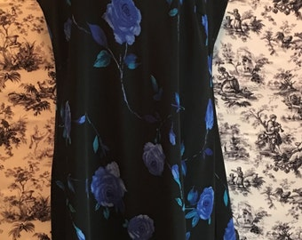 Vintage 1990, size 9/10, sleeveless Dress, blue flower, DBY, black. FREE SHIPPING, Mother's Day, Easter