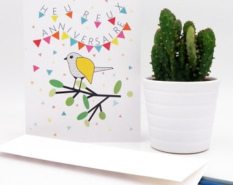 Happy birthday postcard, illustration Bird on a branch, confetti and multicolor flags