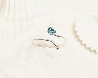 Silver Toe Ring, Silver CZ Toe Ring, Sterling Toe Ring, Small Toe Ring, Adjustable Toe Ring, Silver Pinkie Ring, Aquamarine Toe Ring