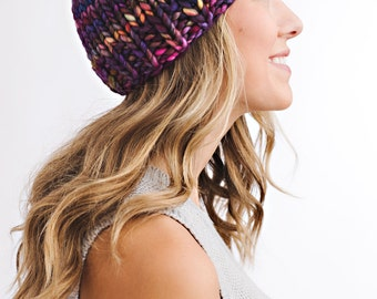 Knitting Pattern - Chunky Hat with Button  // Vibrant Punch