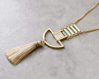 Boho necklace, bohemian necklace, long necklace, pendant necklace, tassel necklace, tribal necklace, gypsy jewelry, gold necklace
