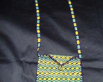 Huichol beaded medicine bag necklace