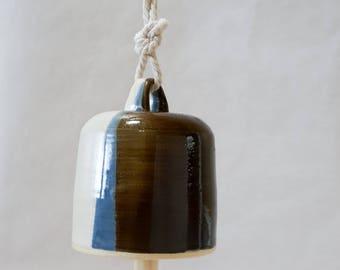Modern Pottery Bell, Handmade Ceramic Bell,  Modern Home Decor, White Navy Blue and Bronze, Minimalist, Housewarming Gift, Matte Rustic Wood