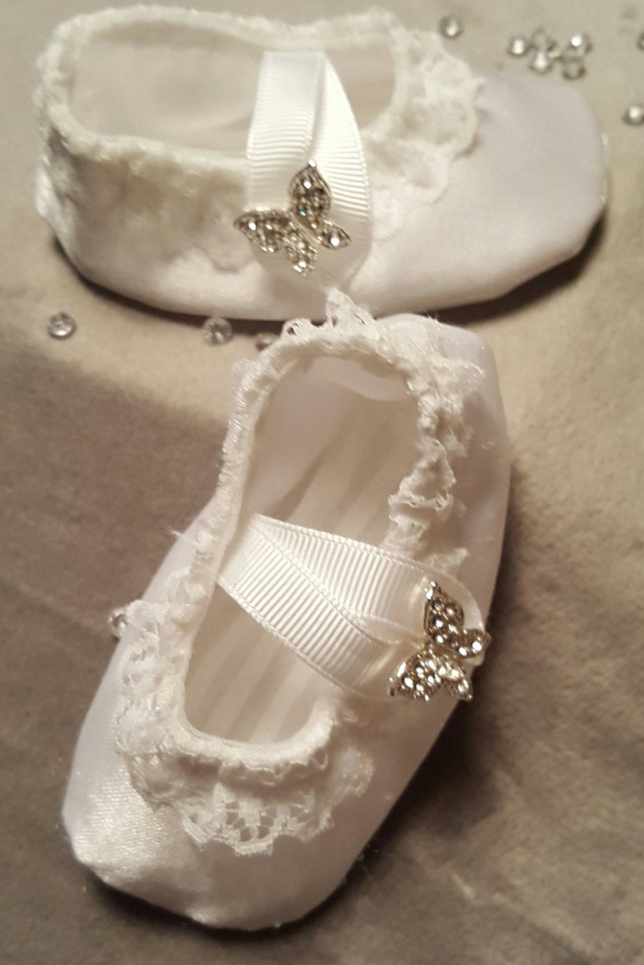 reborn baby shoes white satin with butterfly