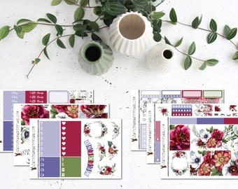 Boho Floral || Weekly Sticker Kit (6 Sticker Sheets) || Erin Condren, Happy Planner, Recollections, No White Space || SeattleKangarooPlans