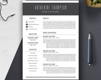 Professional Resume Template | Cover Letter | CV Template Word | PC, Mac |  | Creative, Modern Resume Design | Instant Download | KATHERINE