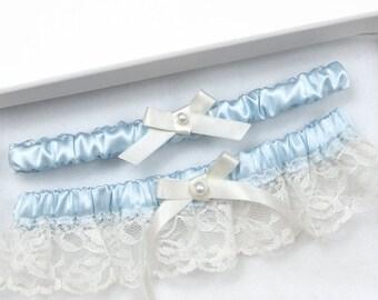Blue Wedding Garter, Bridal Garter, Ivory Garter, Wedding Garter Set, Wedding Garter, Blue Garter, Plus Size Garter, Vintage Garter
