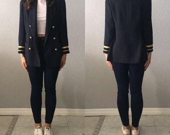 1980's Navy Blue Vintage Nautical Military Blazer
