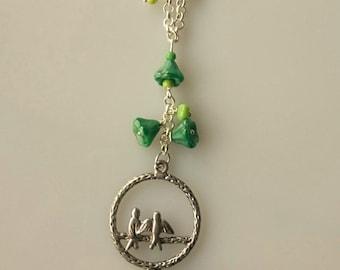 lovely birds necklace - handmade
